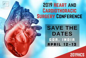 2019 Heart and Cardiothoracic Surgery Conference. April 12-13, 2019 in Goa, India. Theme: Discovering the Science of Heart.