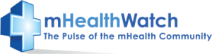 Logotype of mHealthWatch: The pulse of the m-health community.