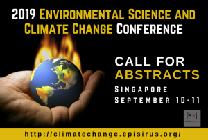2019 Environmental Science and Climate Change Conference on 10-11 September 2019 in Singapore. Theme: Sustainable Development; A Major Challenge Across the Globe.